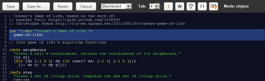 Editor in Blackboard Theme, editing a Clojure file